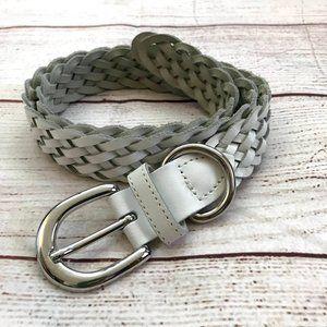 Vintage 90s White Braided Leather Belt